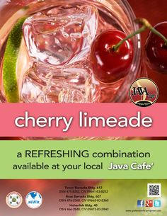 Take a break from the summer with this month's Drink Special, the Cherry Limeade. This refreshing combination is perfect to help cool you off during the hot summer days!