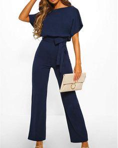 Exlura Lace Up Short Sleeve High Waist Wide Leg Blue Jumpsuits Plus Size Formal Jumpsuit, Formal Romper, Elegant Jumpsuit, Clubwear, Look Fashion, Fashion Outfits, Korean Fashion, Blue Jumpsuits, Work Jumpsuits