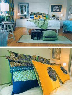 Inspiration: colorful island bedroom.