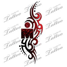 A unique Ironman tattoo design with the M dot Logo incorporated into a flowing tribal design.