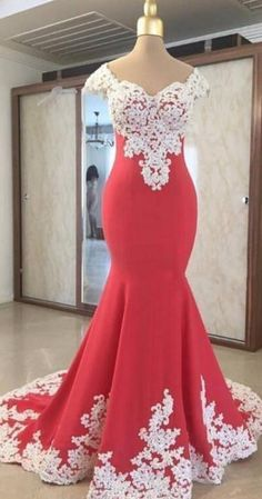 Elegant Simple Pretty Water Melon Color Prom Dresses With White Lace Appliques Long Formal Gowns, Formal Evening Dresses, Evening Gowns, Blue Bridesmaid Dresses, Homecoming Dresses, Long Cocktail Dress, Evening Cocktail, Evening Party, Mermaid Evening Gown
