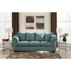 This Elegant Blue Sofa Is Perfect For A French Country Or Transitional  Inspired Living Room.