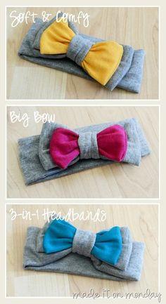 Soft & Comfy, Big Bow, 3-in-1 Headband - step by step Photo tutorial - Bildanleitung
