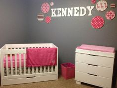 From @Project Nursery + Project Junior, sweet pink + grey space for kennedy grace with Babyletto Mercer 3-in-1 Convertible Crib in White
