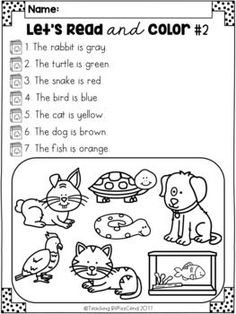 Read and color, Read and draw activities. These activities will motivate your students to read and follow directions carefully. Use this as a listening comprehension activities for your kindergarten students, or have your first graders read the passages. These are perfect for literacy centers, independent work, morning work, homework and more. Kindergarten reading. First-grade reading. Read and color. Read and draw. Kindergarten printables. Reading comprehension. Listening comprehension.