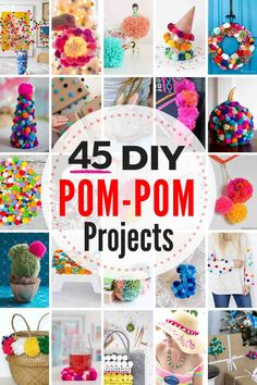 45 adorable DIY pom pom projects to try! 45 adorable DIY pom pom crafts & projects to try! From a pom pom rug to pom pom pillow, pom pom wreath, and all kinds of pom pom fashion, decorating and party projects, there is a pom pom idea here for EVERYONE! Diy Pom Pom Rug, Pom Pom Wreath, Pom Pom Crafts, Yarn Crafts, Diy Crafts Rugs, Yarn Pom Poms, Decor Crafts, Pom Pom Kranz, Craft Projects