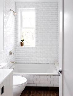 Wood Tile Floor White Subway Tile With Dark Grout Black