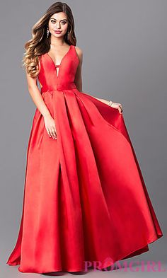 db5d66639b6e Long A-Line V-Neck Prom Dress with Cut Outs