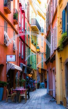 Charming street in Monaco along the Côte d'Azur , France