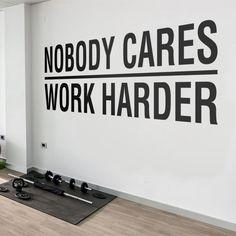 Nobody Cares Work Harder, Gym Wall Decal, Gym Decor Ideas, Gym Design Ideas, Ideas for Home Gym, Office Wall Sign, Gym Wall Art, Gym, Gift Wall Stickers, Wall Decals, Wall Art, Gym Design, Design Ideas, Nobody Cares, Gym Decor, Work Harder, Office Walls