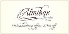 Almibar, a script with TONS of swashes and alternates, in on 80% off sale through July 5.