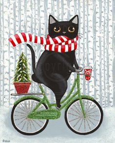 Robust Christmas Bicycle Tuxedo Cat Original Folk Art Painting Robust Christmas Coffee Bicycle Cat Original Folk Art Painting By Kilkennycat Art 85 00 Usd I Love Cats, Crazy Cats, Memes Arte, Art Populaire, Photo Chat, Christmas Cats, Christmas Coffee, Here Kitty Kitty, Cat Drawing
