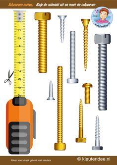 Meet de lengte van de schroeven, thema huizen bouwen, kleuteridee, Kindergarten measurement free printable.