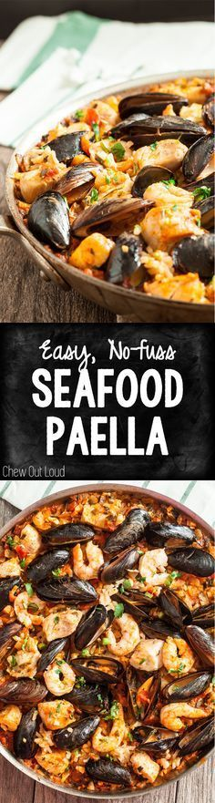This Easy Seafood Paella is simplified and delish! No mortar/pestle or paella pan needed. It's quicker, easier, and succulent!