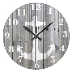 Hipster Vintage White Nautical Anchor On Gray Wall Clock Decor for Bedroom Nursery Round Silent Wood Clock Art for Kids Girls Boys Room 14 Inches Grey Wall Clocks, Rustic Wall Clocks, Clock Art, Diy Clock, Clock Ideas, Clock Decor, Wall Decor, Cool Clocks, Grey Wood