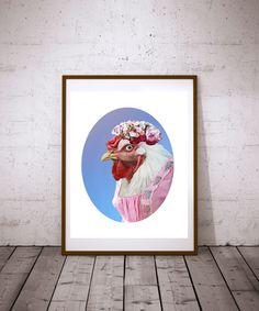 Chicken Print Kitchen Wall Art Rooster Farm by TheButtonBird