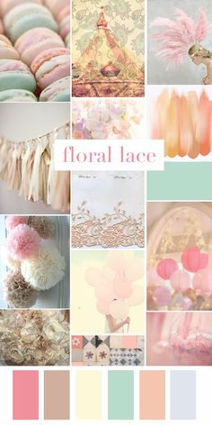 Floral Lace Mood Board by red road studio Drawing Body Proportions, Pastel Colour Palette, Color Collage, Mood Colors, Marca Personal, Wedding Mood Board, Aesthetic Colors, Colour Board, Pretty Pastel