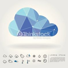 Polygon Cloud With Weather Icon Vector Art 480121013