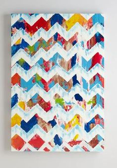 abstract chevron.....could tape off chevron pattern and let kids fingerprint!?