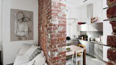 Studio van 30 vierkante meter met een te gek, industrieel interieur