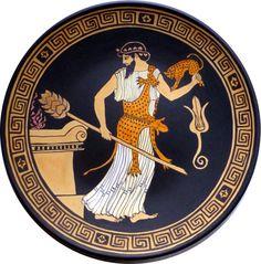 Ceramica greca. Copia. DIONISO con tirso e pantera. di MITOliberty