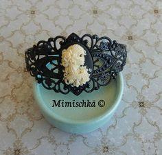 Bracelet noir catrina camée gypsy sugar skull tête de mort : Bracelet par mimischka