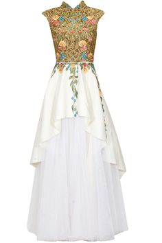 Off white zari and thread embroidered peplum gown available only at Pernia's Pop Up Shop.