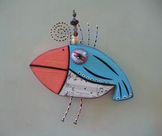 Song Bird, Original Mixed Media Sculpture, Wood Carving, Wall Art, by Fig Jam Studio on Etsy
