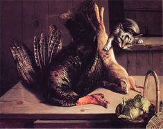 Still Life with Wild Game and Cat (George Hetzel - )