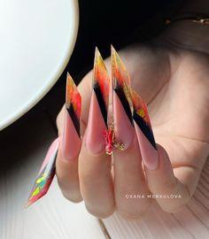 Nail Art Designs Videos, Nail Art Videos, Acrylic Nail Tips, Acrylic Nail Designs, Arrow Nails, Monster Nails, Nail Logo, Edge Nails, Exotic Nails