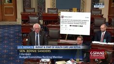 The Senate is currently debating the repeal of Obamacare. And since Senators love their visual aids, it makes sense that Bernie Sanders brought one along with him to work today. But Bernie's sign marks the dawn of a new era in a lot of ways. He literally just printed out a tweet from President-elect Donald Trump.