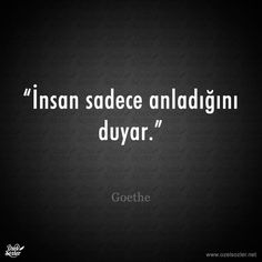 """""""İnsan sadece anladığını duyar."""" - Goethe"""