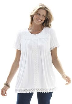 Top, tunic length in soft jersey fabric with lace trim | Plus Size Knit Tops & Tees | Woman Within