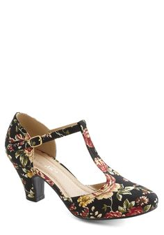 Eat, Bouquet, Love Heel in Noir Corsage, #ModCloth This just made it to #1. All wedding color...ONE shoe!!!