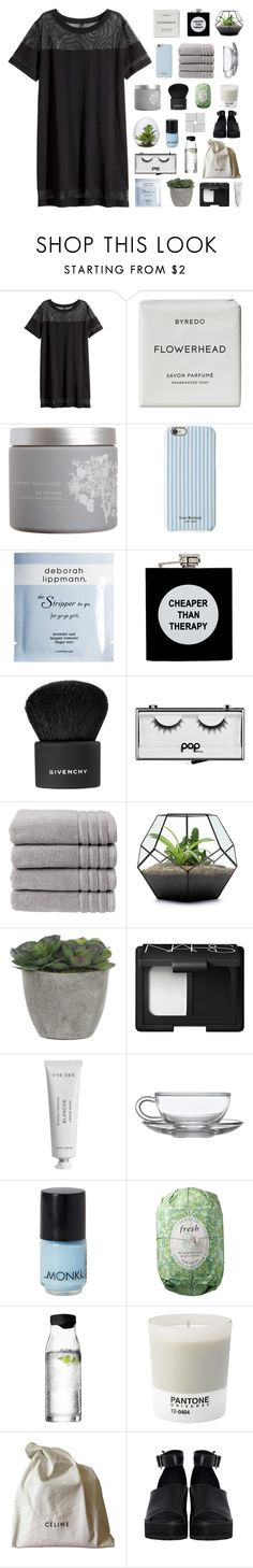 """""""you and me got a whole lot of history"""" by burning-citylights ❤ liked on Polyvore featuring H&M, Byredo, red flower, Isaac Mizrahi, Deborah Lippmann, ASOS, Givenchy, Pop Beauty, Christy and Lux-Art Silks"""