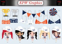 Blue and Orange Drill Girls Clip-art in a PNG format. Personal & Small Commercial use