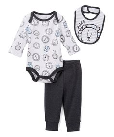 White & Black Lion Bodysuit Set