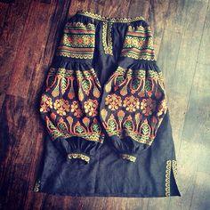 Black Vita Kin style linen TUNIC vyshyvanka dress green copper Embroidery. Sizes…