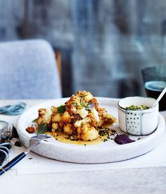Fuyu restaurant shares its recipe for a tender caramelised cauliflower cooked Japanese-style with a white miso dressing. Chef Recipes, Asian Recipes, Vegetarian Recipes, Healthy Recipes, Japanese Recipes, Healthy Salads, Japanese Food, Miso Recipe, White Miso