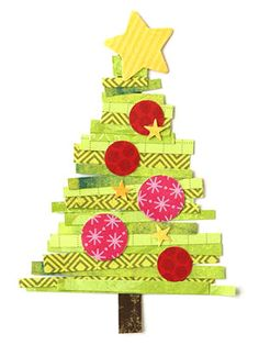 Raid your scrap stash and cut strips from green patterned paper to create the branches of this paper-pieced Christmas tree. Top the strips with red punched circles and a simple yellow star.