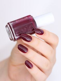 In the Lobby from the Essie Fall 2015 Leggy Legend Collection In the Lobby is a burgundy jelly.  It leans slightly more purple than red which is lovely, but it was a bit patchy as I was applying it, so I'd recommend waiting a little while between coats. I'm wearing two coats without top coat