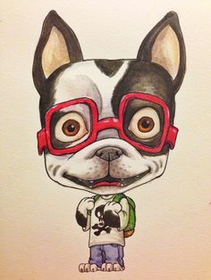 French Bulldog in Red Glasses, illustration, watercolor.