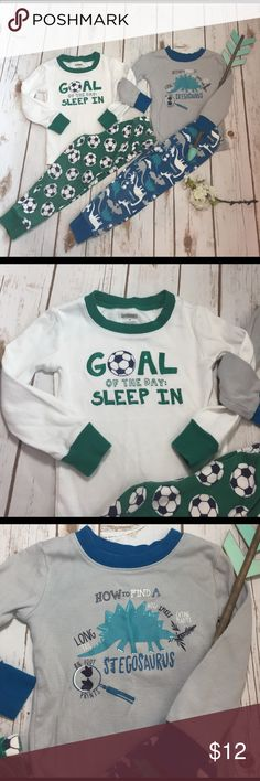 2-Gymboree pj sets (4 pcs total) size 3 Some wear from wash on the bottoms, otherwise, great condition. These Dino and soccer sets are cute! 100% cotton Gymboree Pajamas Pajama Sets