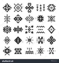 Vector abstract geometric elements pattern ethnic collection aztec icons tribal art for design logo cards backgrounds Bohemian Pattern, Bohemian Design, Ethnic Design, Aztec Designs, Geometric Designs, Motif Navajo, Motifs Aztèques, Thai Pattern, Bijoux Design
