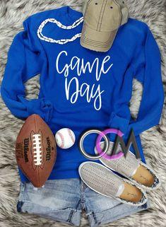 Game Day Sweatshirt, Ladies Football Sweatshirt, Ladies Baseball Sweatshirt, Game Day Pullover- Sweatshirt - One Crafty Momma Football Mom Shirts, Football Stuff, Baseball Shoes, Sweatshirt Outfit, Adidas Sneakers, Cute Outfits, Pullover, Games, My Style