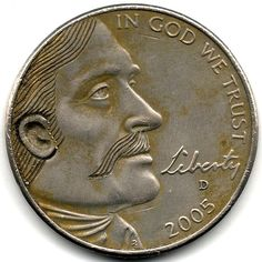 RAY CASTRO HOBO NICKEL - MAN WITH MOUSTACHE* - 2005d JEFFERSON NICKEL Hobo Nickel, Moustache, Coins, Carving, Personalized Items, Mustache, Rooms, Wood Carvings, Sculptures