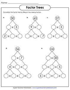 Image result for prime factor trees worksheets grade 6
