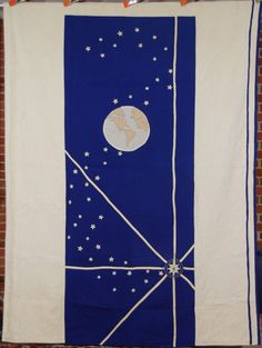 "Rare 30's Vintage Earth, Stars & Compass quilt, hand stitched, 68"" x 90"", seen at eBay"
