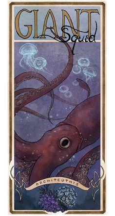 Giant Squid Poster, Wildlife Sea Art - Archival Art Print LARGE 11 x 17. $33.00, via Etsy.