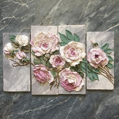 Altered Canvas Wall Art Using Plaster Dipped Silk Flowers Plaster Sculpture, Plaster Art, Sculpture Painting, Wall Sculptures, Clay Wall Art, Clay Art, Canvas Wall Art, Art Floral, Floral Design